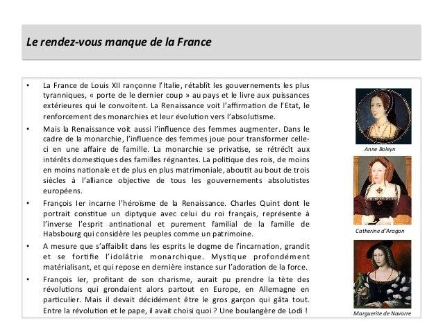Le rendez-‐vous manque de la France • La France de Louis XII rançonne l'Italie, rétablît les...