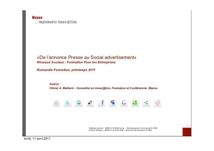 «De l'annonce Presse au Social advertisement»         Réseaux Sociaux : Formation Pour les Entreprises         Romandie Fo...