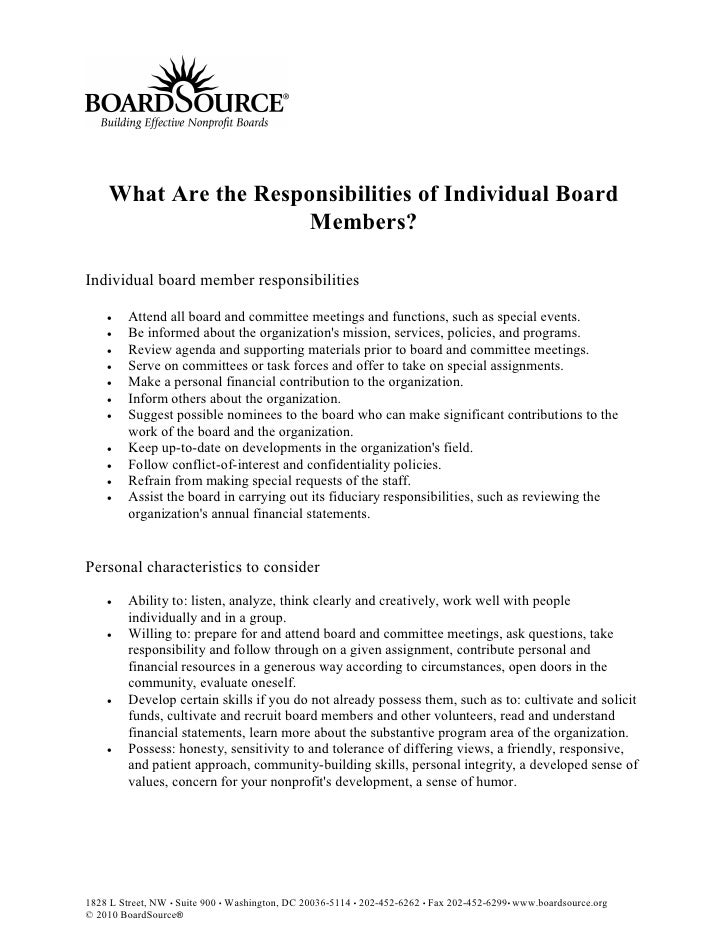 What Are the Responsibilities of Individual Board                       Members?  Individual board member responsibilities...