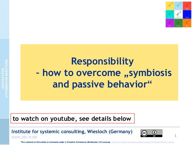 """1 Institute for systemic consulting, Wiesloch (Germany) www.isb-w.de Responsibility – how to overcome """"symbiosis and passi..."""
