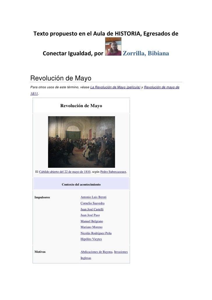 Texto propuesto en el Aula de HISTORIA, Egresados de        Conectar Igualdad, por                                     Zor...