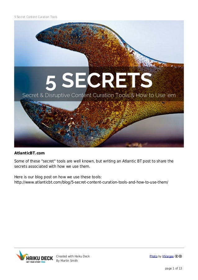 """5 Secret Content Curation Tools  AtlanticBT.com Some of these """"secret"""" tools are well known, but writing an Atlantic BT po..."""