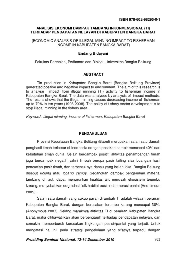 ISBN 978-602-98295-0-1    ANALISIS EKONOMI DAMPAK TAMBANG INKONVENSIONAL (TI)  TERHADAP PENDAPATAN NELAYAN DI KABUPATEN BA...