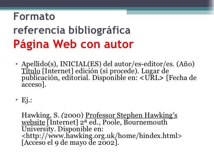 Citas bibliograficas de paginas de internet