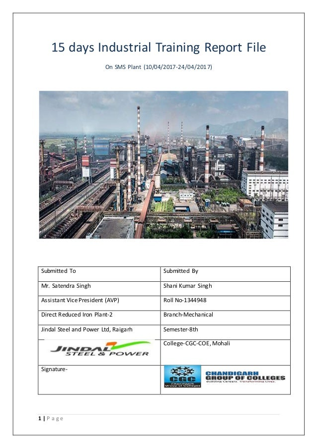 Industrial Training Report On Steel Melting Shop Sms