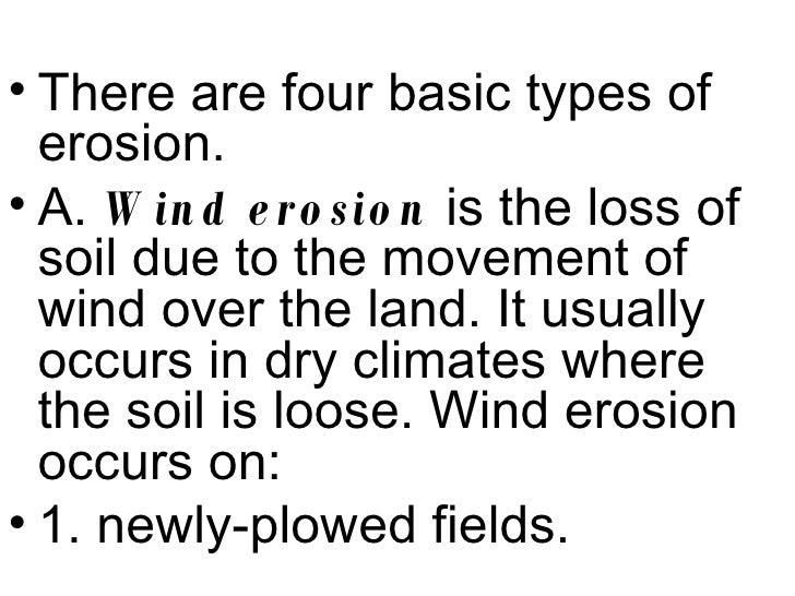 5 soil erosion for Four types of soil