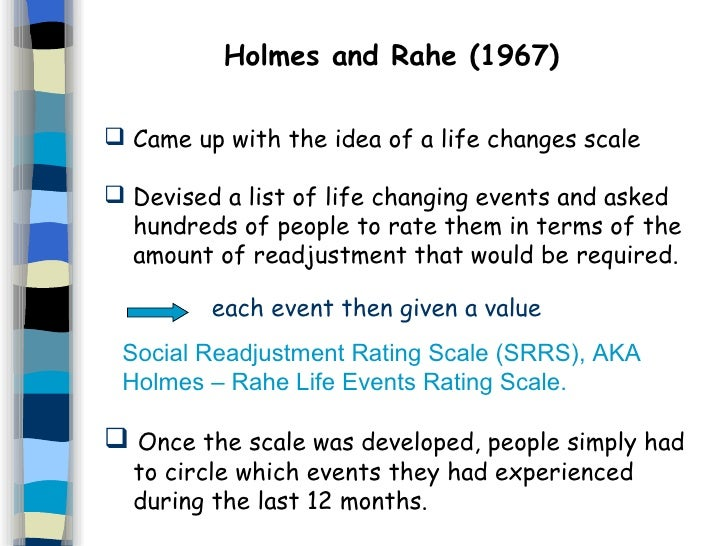 the social readjustment rating scale srrs