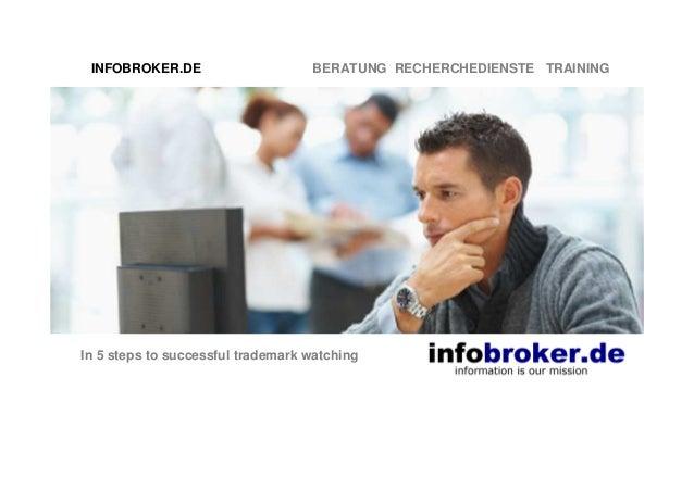 INFOBROKER.DE BERATUNG RECHERCHEDIENSTE TRAINING In 5 steps to successful trademark watching