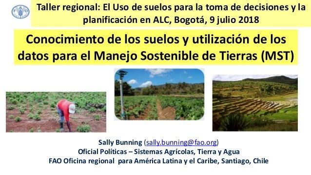 Conocimiento de los suelos y utilización de los datos para el Manejo Sostenible de Tierras (MST) Sally Bunning (sally.bunn...