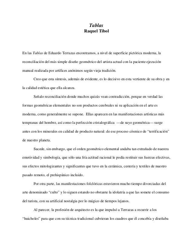 TablasRaquel TibolEn las Tablas de Eduardo Terrazas encontramos, a nivel de superficie pictórica moderna, lareconciliación...