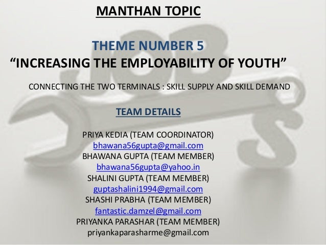 """MANTHAN TOPIC THEME NUMBER 5 """"INCREASING THE EMPLOYABILITY OF YOUTH"""" CONNECTING THE TWO TERMINALS : SKILL SUPPLY AND SKILL..."""