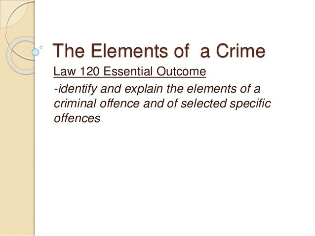the elements of crime Mens rea refers to the crime's mental elements of the defendant's intent this is a necessary element—that is, the criminal act must be voluntary or purposeful.