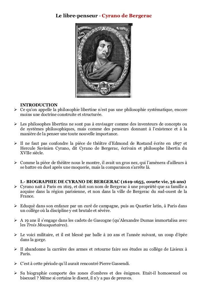 Le libre-penseur - Cyrano de Bergerac  INTRODUCTION Ce qu'on appelle la philosophie libertine n'est pas une philosophie s...