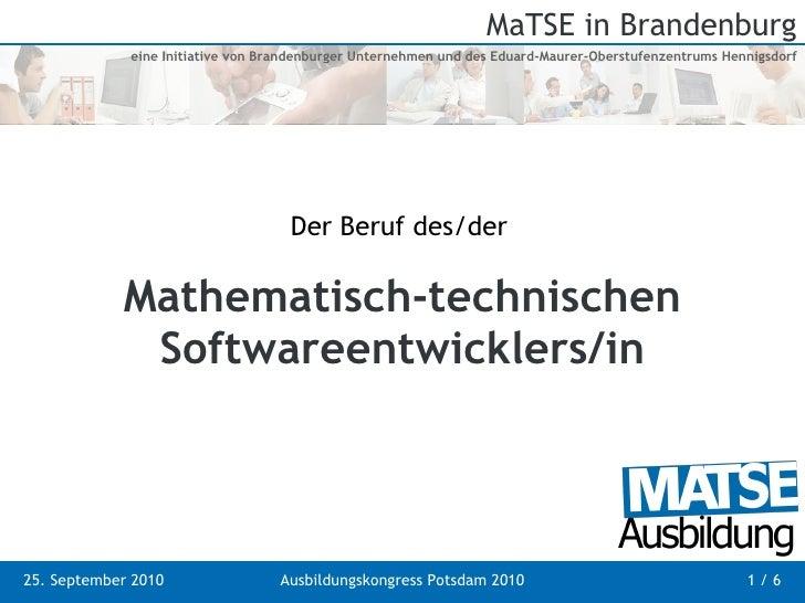 Mathematisch-technischen Softwareentwicklers/in Der Beruf des/der