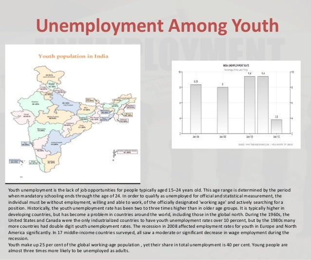 Unemployment Among Youth Youth unemployment is the lack of job opportunities for people typically aged 15–24 years old. Th...