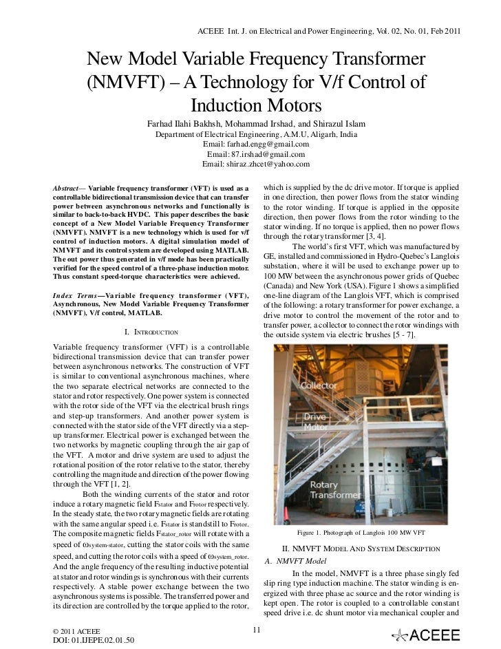 ACEEE Int. J. on Electrical and Power Engineering, Vol. 02, No. 01, Feb 2011          New Model Variable Frequency Transfo...