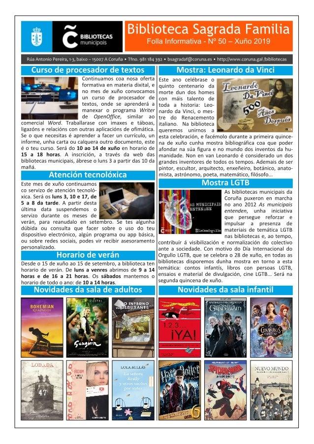 Boletín Informativo de xuño 2019 da Biblioteca Sagrada Familia da Coruña