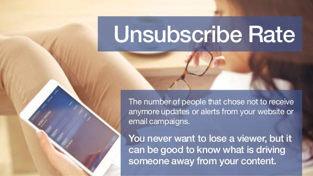 Unsubscribe Rate The number of people that chose not to receive anymore updates or alerts from your website or email campa...
