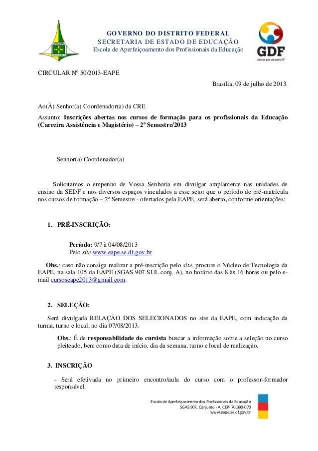 GOVERNO DO DISTRITO FEDERAL SECRETARIA DE ESTADO DE EDUCAÇÃO Escola de Aperfeiçoamento dos Profissionais da Educação Escol...