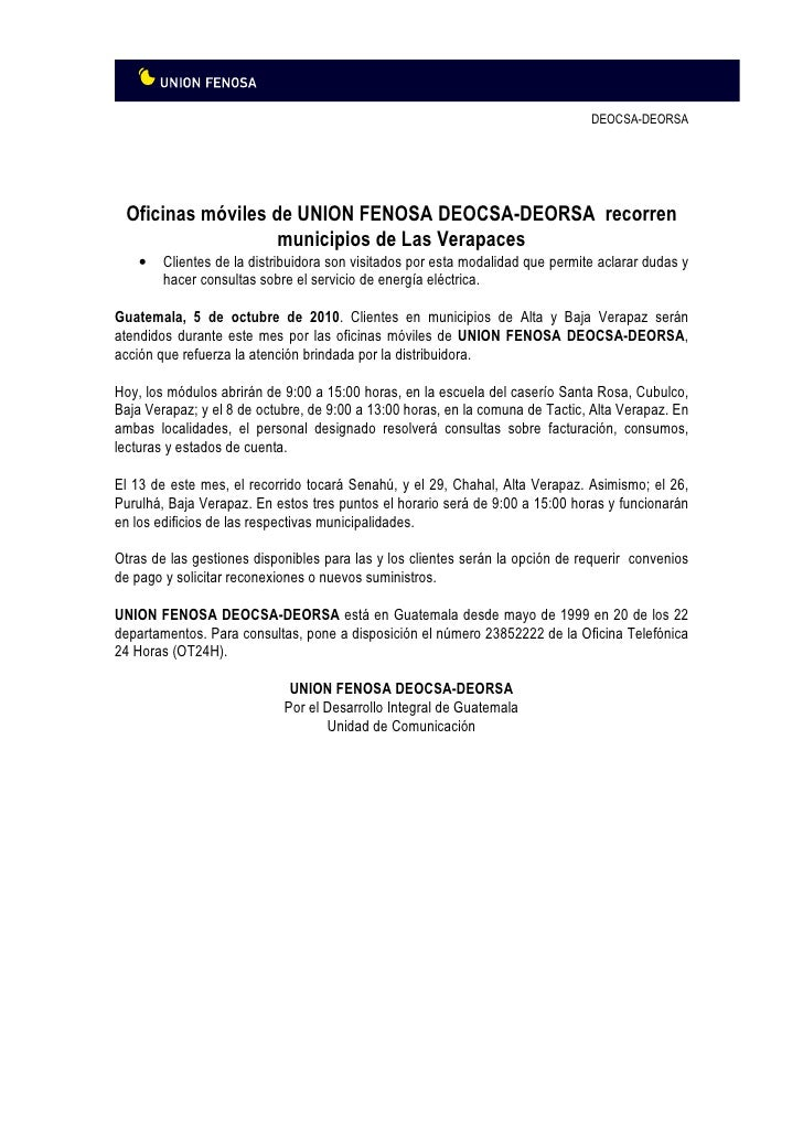 Uni n fenosa guatemala deorsa deocsa recorre municipios for Gas natural fenosa oficina directa