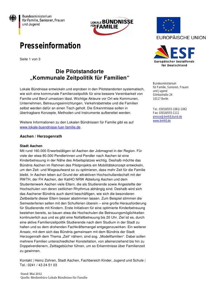 """PresseinformationSeite 1 von 3             Die Pilotstandorte      """"Kommunale Zeitpolitik für Familien""""                   ..."""
