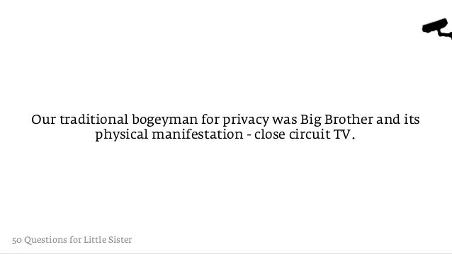 Our traditional bogeyman for privacy was Big Brother and its              physical manifestation - close circuit TV.50 Que...