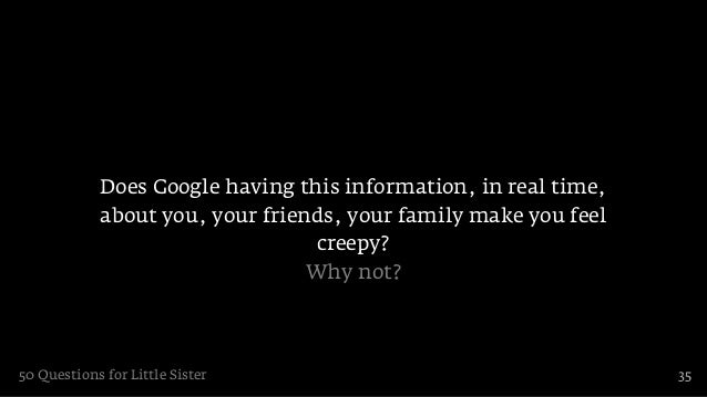 Does Google having this information, in real time,            about you, your friends, your family make you feel          ...