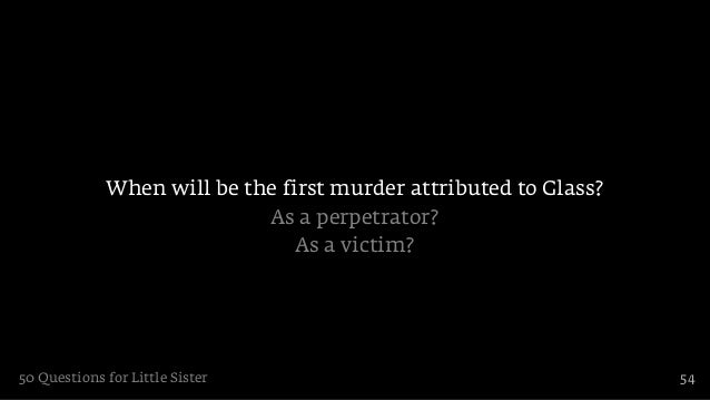 When will be the first murder attributed to Glass?                            As a perpetrator?                           ...