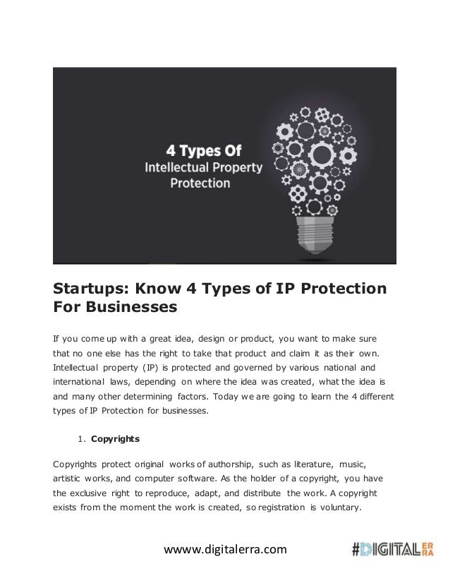 Startups- know 4 types of ip protection for businesses