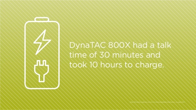 DynaTAC 800X had a talk time of 30 minutes and took 10 hours to charge.  http:/ /inventors.about.com/cs/inventorsalphabet/...