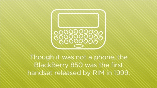 Though it was not a phone, the BlackBerry 850 was the first handset released by RIM in 1999.