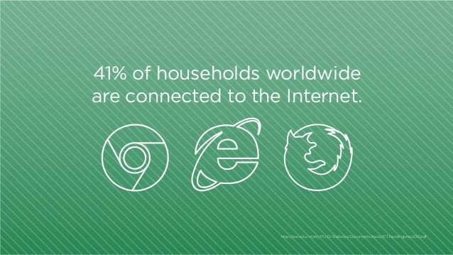 41% of households worldwide are connected to the Internet.  http:/ /www.itu.int/en/ITU-D/Statistics/Documents/facts/ICTFac...