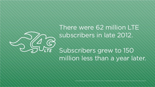 There were 62 million LTE subscribers in late 2012. Subscribers grew to 150 million less than a year later.  http:/ /allth...