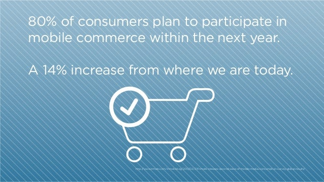 80% of consumers plan to participate in mobile commerce within the next year. A 14% increase from where we are today.  htt...