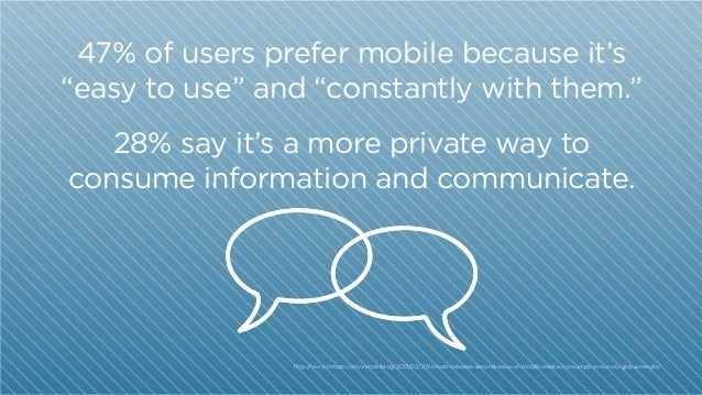"47% of users prefer mobile because it's ""easy to use"" and ""constantly with them."" 28% say it's a more private way to consu..."
