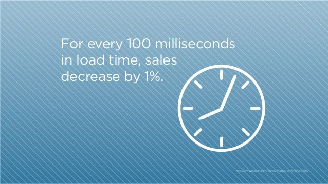 For every 100 milliseconds in load time, sales decrease by 1%.  http:/ /www.mobify.com/go/50-mobile-commerce-stats/