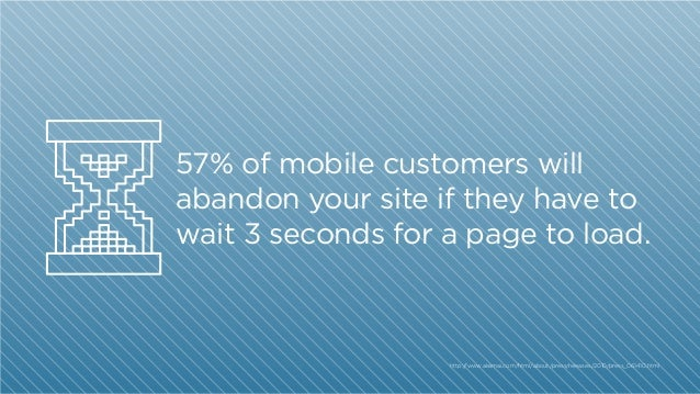 57% of mobile customers will abandon your site if they have to wait 3 seconds for a page to load.  http:/ /www.akamai.com/...