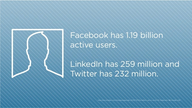 Facebook has 1.19 billion active users. LinkedIn has 259 million and Twitter has 232 million.  http:/ /www.forbes.com/site...