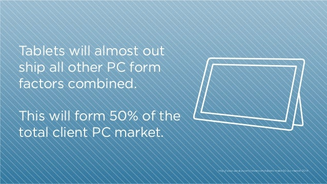 01 02  Tablets will almost out ship all other PC form factors combined.  oin Networks  This will form 50% of the total cli...