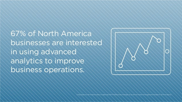 67% of North America businesses are interested in using advanced analytics to improve business operations.  http:/ /report...