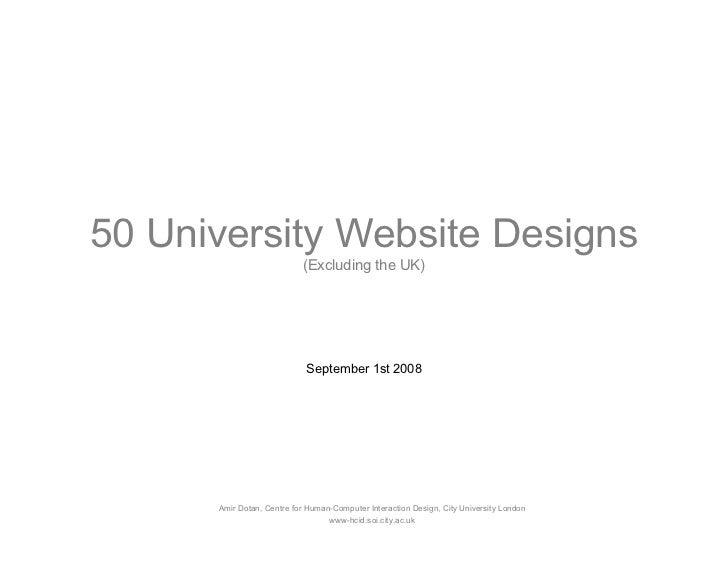 50 University Website Designs                            (Excluding the UK)                                 September 1st ...