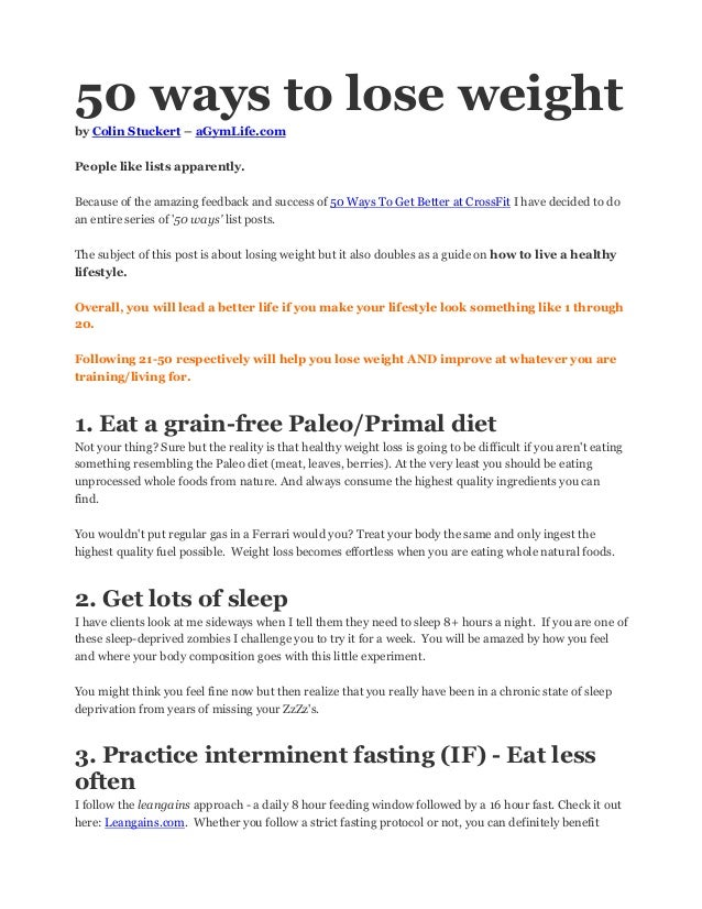 50 Ways To Lose Weight By Colin Stuckert Agymlife Com