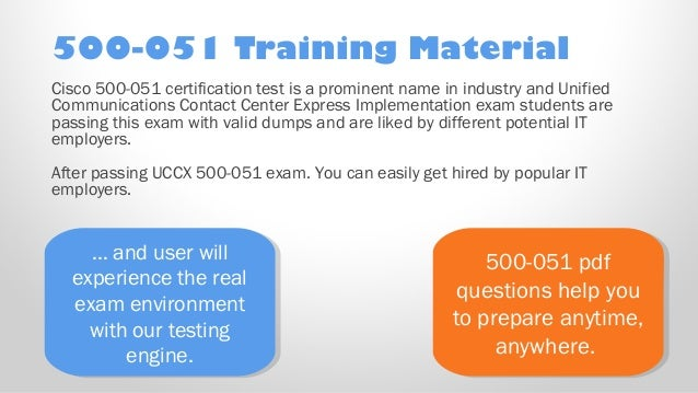 500 051 PDF Practice Test Free Cisco 500 051 Sample practice