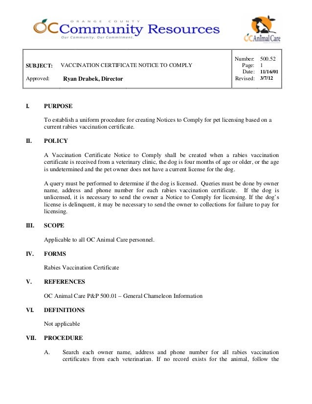 50052 Vaccination Certificate Notice To Comply 022012
