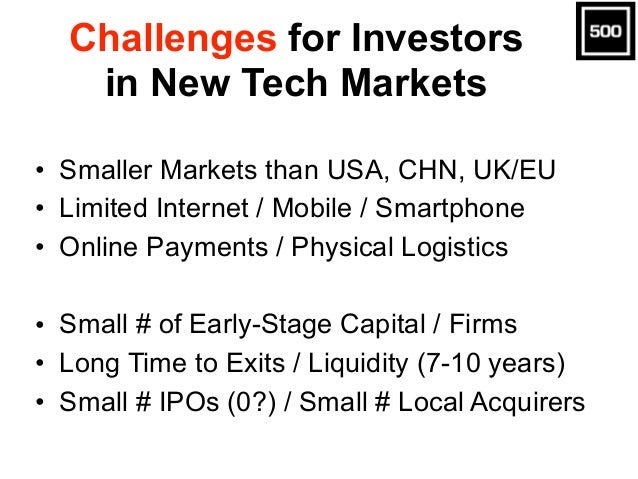 Challenges for Investors in New Tech Markets • Smaller Markets than USA, CHN, UK/EU • Limited Internet / Mobile / Smartpho...