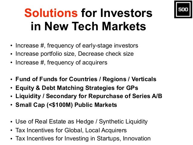 Solutions for Investors in New Tech Markets • Increase #, frequency of early-stage investors • Increase portfolio size, De...