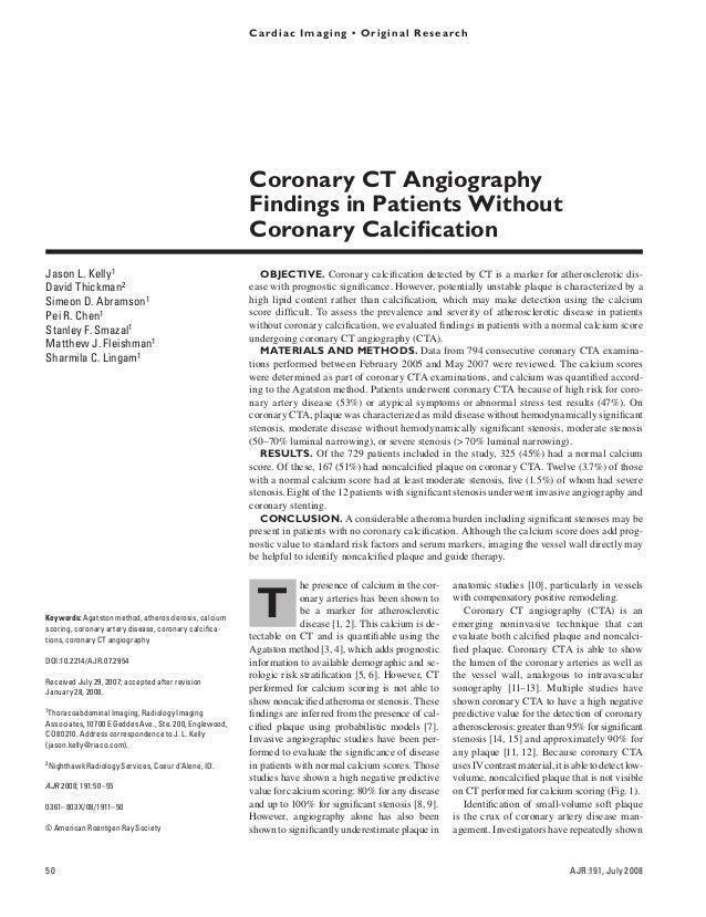 Cardiac Imaging • Original Research Kelly et al. CTA in Patients Without Coronary Calcification Cardiac Imaging Original R...