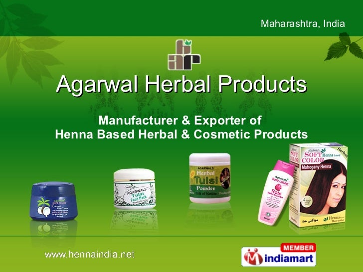 Agarwal Herbal Products Manufacturer & Exporter of  Henna Based Herbal & Cosmetic Products
