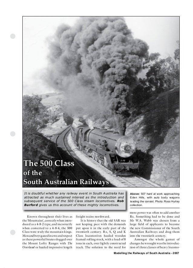 The Commonwealth Railways                  Streamliner EraThe 500 Classof theSouth Australian Railways It is doubtful whet...