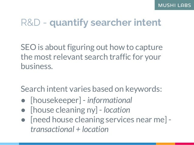 R&D - quantify searcher intent SEO is about figuring out how to capture the most relevant search traffic for your business...